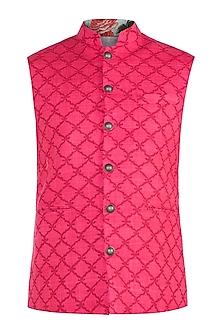Blush Pink & Red Block Printed Nehru Jacket
