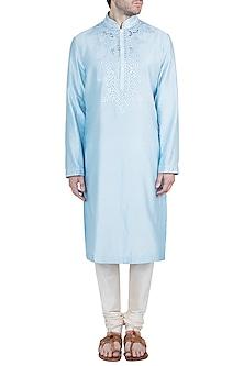 Ice Blue Embellished Kurta by Pranay Baidya Men