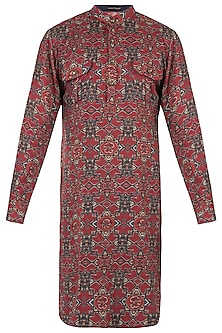 Red and blue abstract print kurta