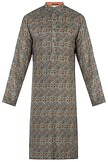 Grey and orange floral print kurta