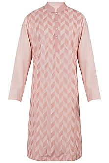 Peach and red pintuck kurta