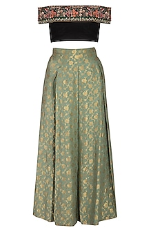 Green Pleated Lehenga Skirt With Dupatta & Embroidered Top
