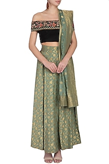 Green Pleated Lehenga Skirt With Dupatta & Embroidered Top by Pranay Baidya