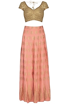 Peach Embroidered Brocade Lehenga Set