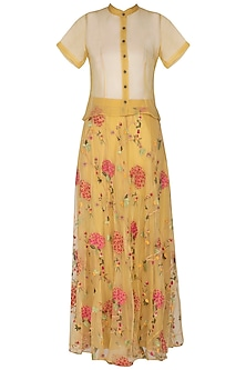 Yellow Embroidered Skirt With Shirt