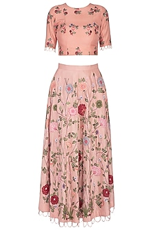 Peach Embroidered Skirt With Top