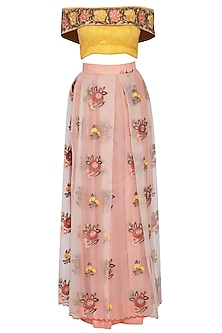 Nude Pink Embroidered Lehenga Skirt With Off Shoulder Blouse