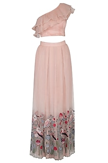 Light Peach Embroidered Lehenga Skirt With Top