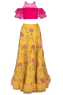 Yellow Embroidered Lehenga Set