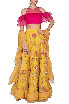Yellow Embroidered Lehenga Set by Pranay Baidya