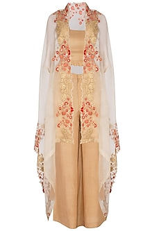 Beige Embroidered Cape With Pants & Top