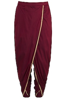 Maroon & Gold Dhoti Pants by Pranay Baidya Men