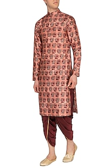 Maroon & Golden Dhoti Pants by Pranay Baidya Men