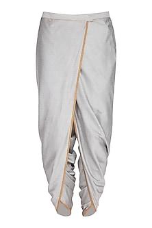 Grey Cotton Silk Dhoti Pants by Pranay Baidya Men