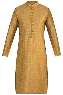 Golden yellow embroidered kurta