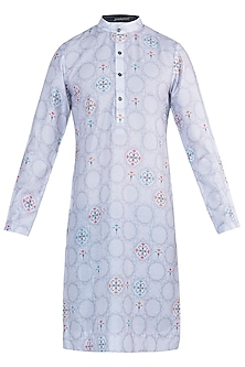 Light grey printed kurta