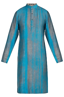 Turquoise blue striped kurta
