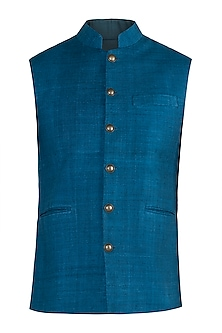 Indigo blue nehru jacket