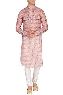 Nude Pink Printed Kurta by Pranay Baidya Men
