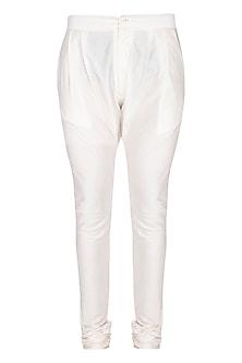White Churidar Pants by Pranay Baidya Men