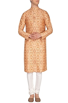 Light Beige Printed Kurta by Pranay Baidya Men