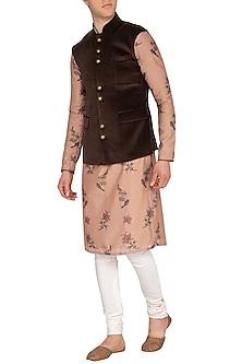 Brown Cotton Velvet Nehru Jacket by Pranay Baidya Men
