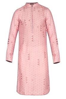 Pink Block Printed Kurta by Pranay Baidya Men