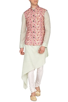 Multi Colored Printed Nehru Jacket by Pranay Baidya Men
