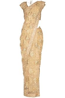 Beige Embroidered Sequins Saree Set by Pranay Baidya