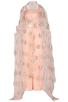 Peach Embellished Cape With Top & Pants by Pranay Baidya