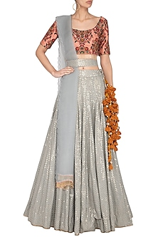 Multi Colored Printed & Embroidered Lehenga Set by Pranay Baidya