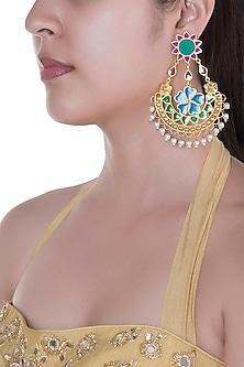 Gold Finish Enameled Sun Motif & Pearl Drop Earrings by Pranay Baidya Jewellery