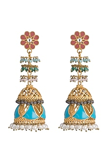 Gold Finish Enameled Long Jhumka Earrings by Pranay Baidya Jewellery