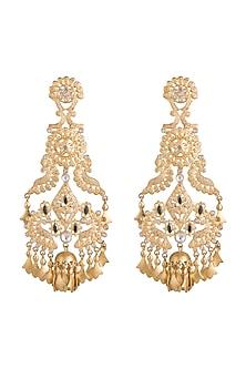 Gold Finish Regal Motif & Leaf Tassel Long Earrings by Pranay Baidya Jewellery