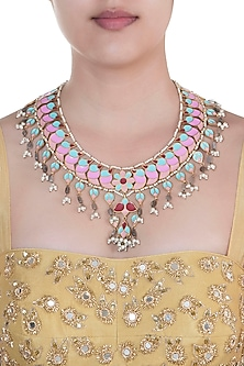 Gold Finish Enameled & Pearl Tassel Necklace by Pranay Baidya Jewellery