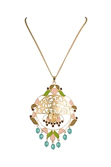 Gold Finish Enameled Green Beads Pendant Necklace by Pranay Baidya Jewellery