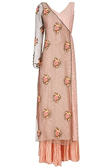 Earthy Pink Embroidered Half Jacket Kalidaar with Palazzo Set