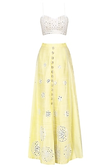 Lemon Yellow Mirror Embroidery Lehenga Set