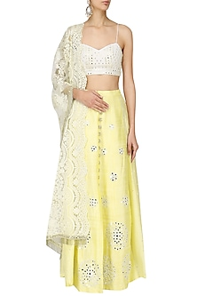 Lemon Yellow Embroidery Lehenga