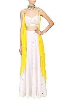 Yellow Twisted White Blouse Lehenga Set