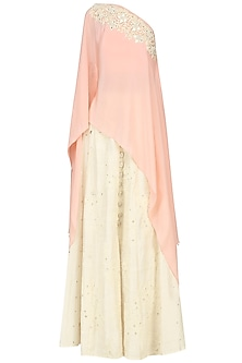 Peach Embroidered One Shoulder Cape with Skirt Set