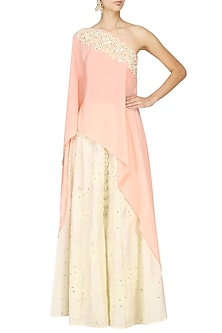 Peach Embroidered One Shoulder Cape
