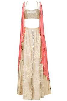 Coral Coin Work Twisted Jacket with Beige Blouse and Lehenga Set
