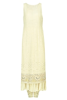 Cream Macrame Embroidered Kurta Set