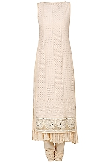 Fawn Macrame Embroidered Kurta with Churidaar Pants Set by Pre-Ri