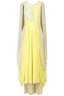 Lemon Yellow Embroidered Cape Cowl Anarkali with Palazzo Pants Set