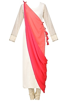 Creme Embroidered Drape Kurta with Churidaar Pants Set