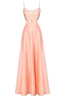 Blush Mirror Embroidered Gown by Pre-Ri