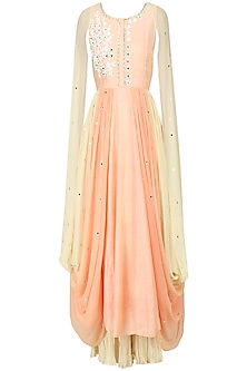 Peach Embroidered Cape Cowl Anarkali with Palazzo Pants Set by Pre-Ri