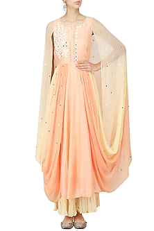 Peach Embroidered Cowl Anarkali Set